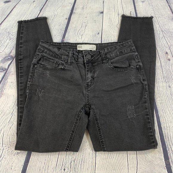 RSQ Denim - RSQ Black Baja Ankle Jeans Distressed Frayed Hem